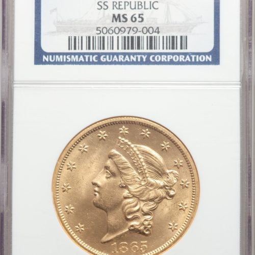 1865 $20 MS65 NGC $59,500